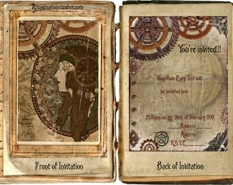 Steampunk/Art Nouveau Custom Party Invitations