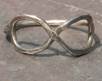 Oxidized Infinity Ring,  Eternity Ring, Sterling Silver Rustic Eternal Ring, Size 7 Ring, Sterling Silver Ring by Maggie McMane Designs