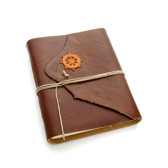 Ship's Log Nautical Brown Leather Journal and Sketchbook in Brown, Rust, and Cream