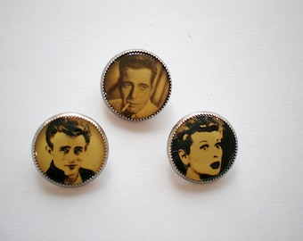 Intaglio Style Shank Buttons-Celebrity Collectibles-James Dean-Lucille Ball-Humphrey Bogart-Famous Actors-Rare Shank Buttons-Old Hollywood