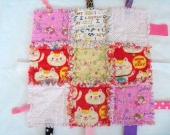"""Rag Quilt Lovey Tag Security Blanket Cats Dots,Fairies Flannel Baby Girl Toddler 15"""" X 15"""""""