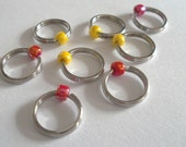 NEW COLORS Red and Yellow - Large Ring Stitch Markers size US 11 - 8.00mm, needle hugger, dangle free handmade, more colors