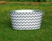 Galvanized Tub Medium Oval Storage Tub Gray and White Chevron