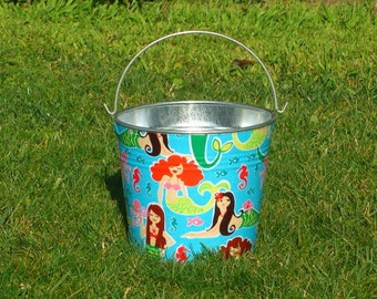 Pretty Little Mermaids Fabric Covered Galvanized Pail