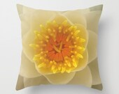 Water Lily Pillow Cover Pillow Cover Water Lily Blooming White Flower Yellow Natural History Water Themed Lily Photograph