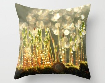 Sleeping Snail Pillow Cover Pillow Cover Snail In The Forest Green Moss Sweet Things Blooming Moss Snail Photograph Natural History