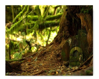 A Hobbit Lives Here Woodland Print Forest Natural History Magical Woods Gnome Findings Green Moss Trees Mushrooms