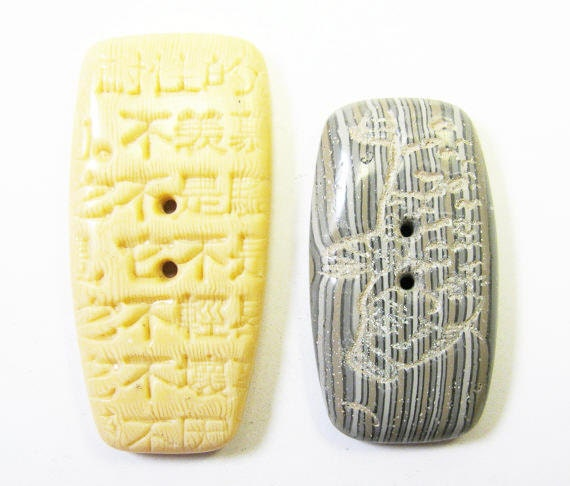 Polymer Clay Buttons or Clasp Components - LISTING FOR PAIR Faux Bone Kanji and Faux Driftwood Koi Buttons