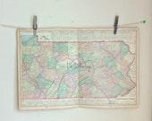 antique double page map Pennsylvania 1899