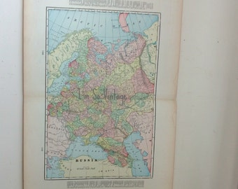 antique double page map Russia 1899