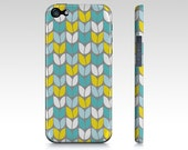 TULIP KNIT iPhone Case Cover Barely There SnapOn iPhone 4/4s iPhone 5 abstract knitting stitches tulips aqua gray yellow