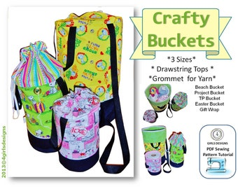 INSTANT DOWNLOAD Crafty Buckets Project Bags PDF Sewing Pattern in 3 New Sizes Get it Today Make it Today