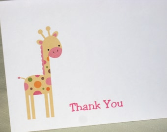 Giraffe Note Cards - Baby Shower Thank Yous  - Set of 8