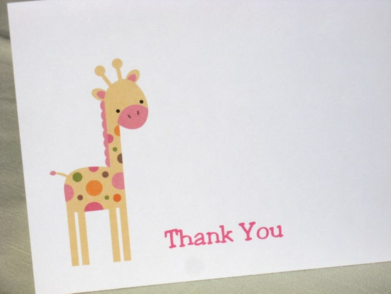 giraffe note cards baby shower thank yous set of 8