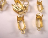 24 Brass Octagon Prong Settings 10x5 2 Ring Open Back