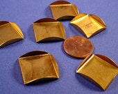 12 Brass Square Bezel Cups with Curved Edge Sides 18mm