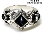 Royal Princess Silver Engagement Ring Medieval Wedding Band Black Onyx Size 6