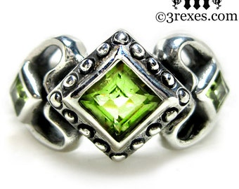 Princess Love Silver Ring Gothic Engagement Band Green Peridot Size 6