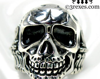Silver Skull Ring Mens Biker Ring Bones Size 11 3/4