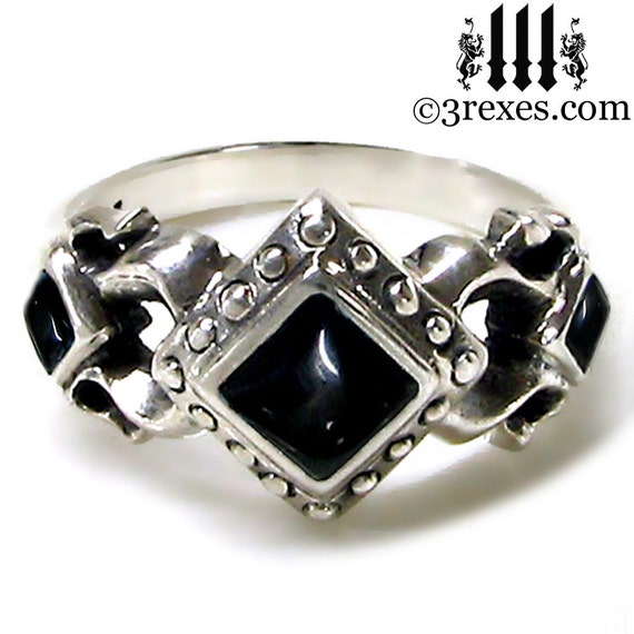 royal princess silver engagement ring medieval wedding band black onyx size 6 - Medieval Wedding Rings