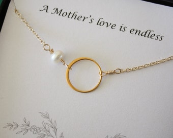 Mothers Card with Gold Infinity Necklace, Pearl, Gold Circle Necklace, Mother Necklace,  Mother to be, Gold Necklace, Karma