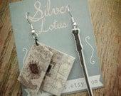 Harry Potter Marauder's Map earrings Geeky Jewelry