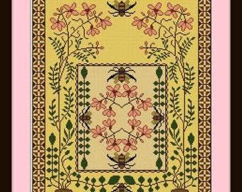 Bumblebees and Pinks Cross stitch pattern PDF