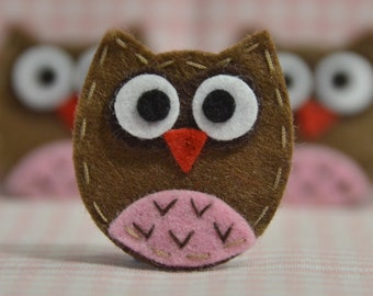Set of 6pcs handmade felt baby owl--chocolate (FT929)