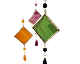 Stained Glass Suncatcher Spring Green or Color Choice