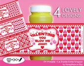 Valentine's Day INSTANT DOWNLOAD  Printable 4oz Bubble Bottle Wrapper  - PDF (Non-Personalized)