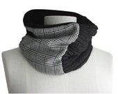 Neck Warmer Repurposed Patchwork Cowl Scarf  Womens Mens Refashioned Cashmere Recycled Wool Black Gray  Tube Scarf