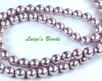 75 Lilac Czech Glass Pearl Coated Round Beads 8mm