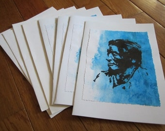 Native American Portrait Note Cards Native Blue