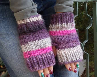 Gloves purple knit fingerless gloves mitts knitted fingerless gloves arm wrist pulse warmer gauntlets soft warm organic winter wool mittens