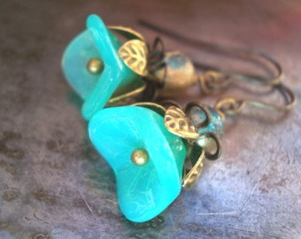 Mint green flower earrings for women Vintage Style brass seafoam blue glass victorian renaissance sea foam dainty handmade mint blue girl
