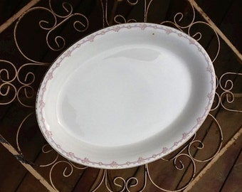 Vintage Antique Well Loved Old Creamy White Oval Meat Platter with Pink Roses