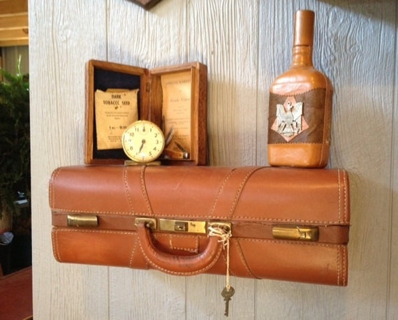 Vintage Brown Leather Upcycled Suitcase Luggage Wall Shelf