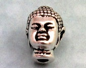 Buddha Head Bead, Antique Silver, Large Hole 2 Pc. TS26