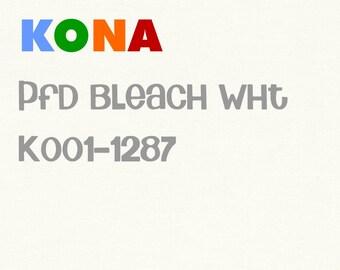 SALE Kona PFD Bleach White Cotton solid fabric, Robert Kaufman