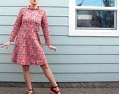 Geometric A-Line Dress in Coral and Plum