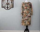 Polka Dot Floral Sheath Dress in Sage