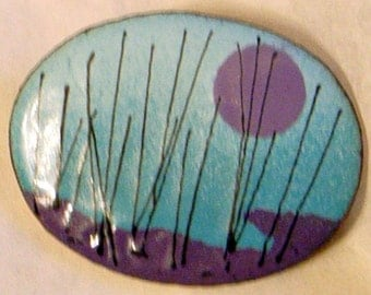 Vintage Enamel Picture Brooch - 1970 - Handmade - MidCentury Abstract Modernist - Turquoise Blue Purple And Black - Never Worn