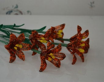 6 Handmade french beaded flowers lilies in brown and orange Tiger lily flower
