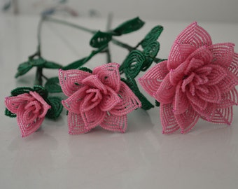 3 french beaded flowers handmade roses different sizes pink color