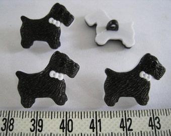 15 pcs of Black Terrier Dog Button