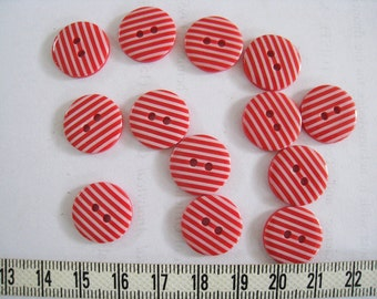 30 pcs of   White Stripe  Button in Bright Red  - 15mm