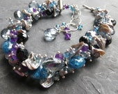 Silver keishi pearl bracelet in sterling silver with amethyst and labradorite - mermaid fashion - thunderstorm at midnight - gray pearls