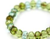 Czech Glass Beads Fire Polished Gemstone Donuts 5x7mm Peridot Aqua Picasso Mix (15) CZF535