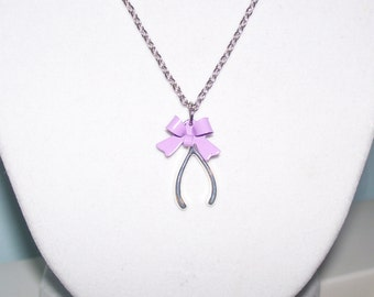 Make a Wish-Bone Necklace with a Lilac Bow