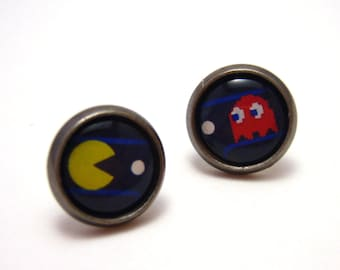 Pacman Studs - Retro 80s Old School arcade game yellow Pacman and red Blinky asymmetric earrings - Geekery Geek Chic Gamer - SMALL 10mm